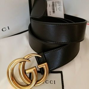 🌠Authentic Gucci Belt Black Leather Gold Brass